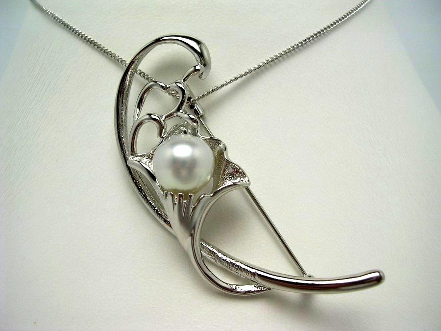 真珠 ブローチ パール 白蝶真珠 10.3mm ホワイト シルバー フラワー 植物 53549 イソワパール