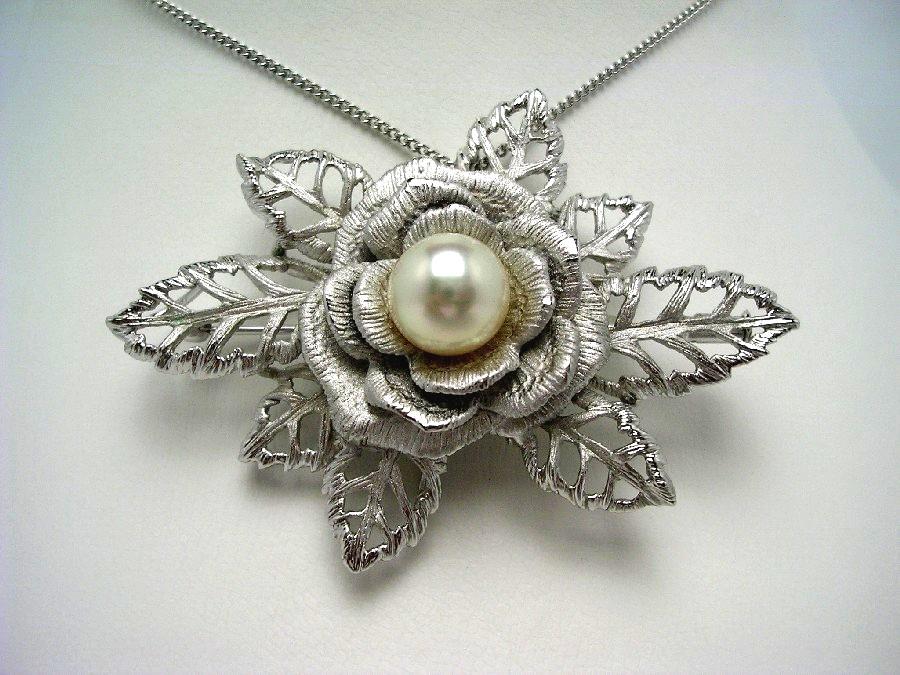 真珠 ブローチ パール アコヤ真珠 9.4mm ホワイトピンク シルバー 53983 イソワパール