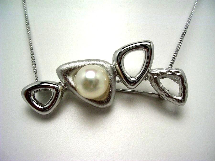 真珠 ブローチ パール アコヤ真珠 8.89mm ホワイトピンク シルバー 56832 イソワパール