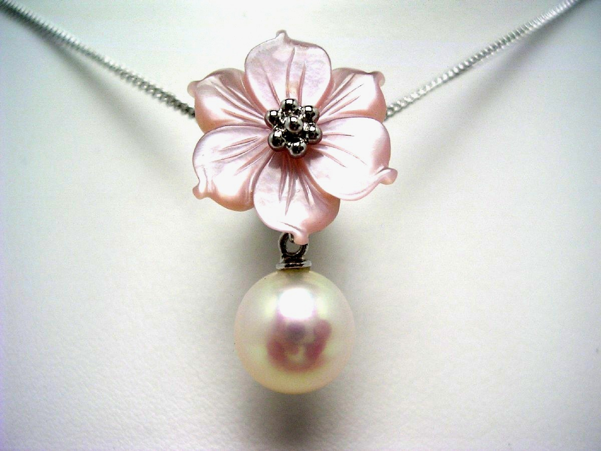 Pearl Thailand knee pin pearl pearl oyster pearl 8, 88mm white pink silver  shell plant flower 57087 イソワパール