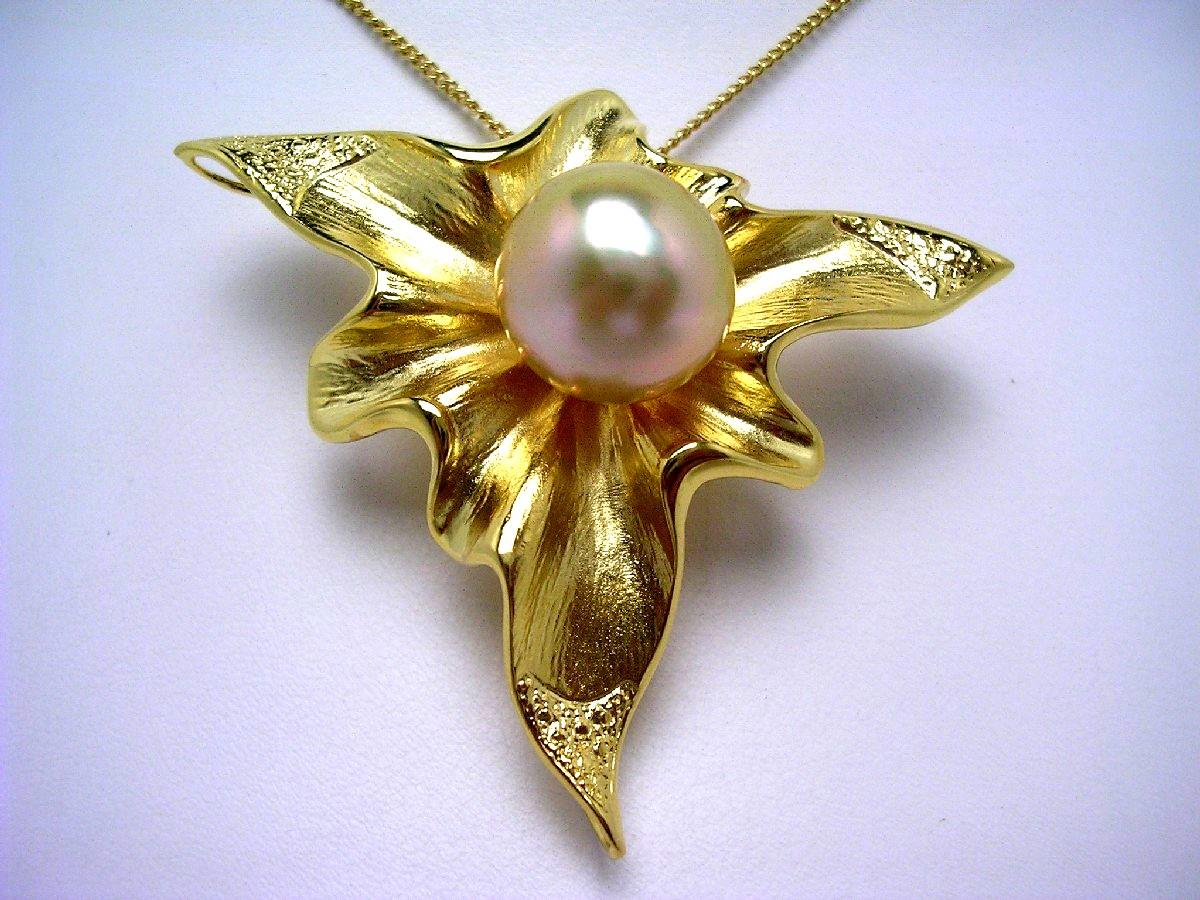真珠 ブローチ パール 白蝶真珠 13.2mm ゴールド(ナチュラル) シルバー 60195 イソワパール