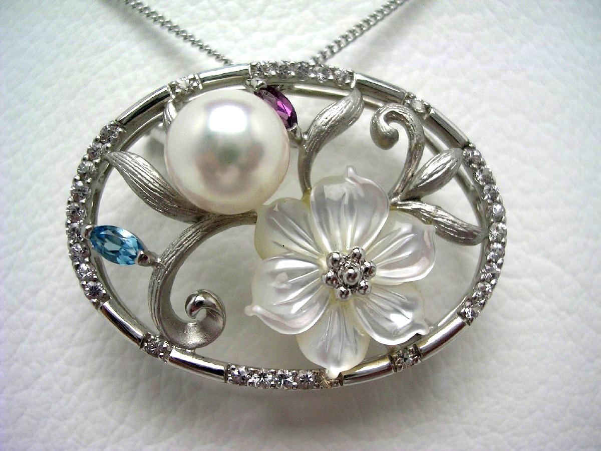 アコヤ真珠 ブローチ 8.9mm ホワイトピンク シルバー 天然石 フラワー 植物 63086 イソワパール