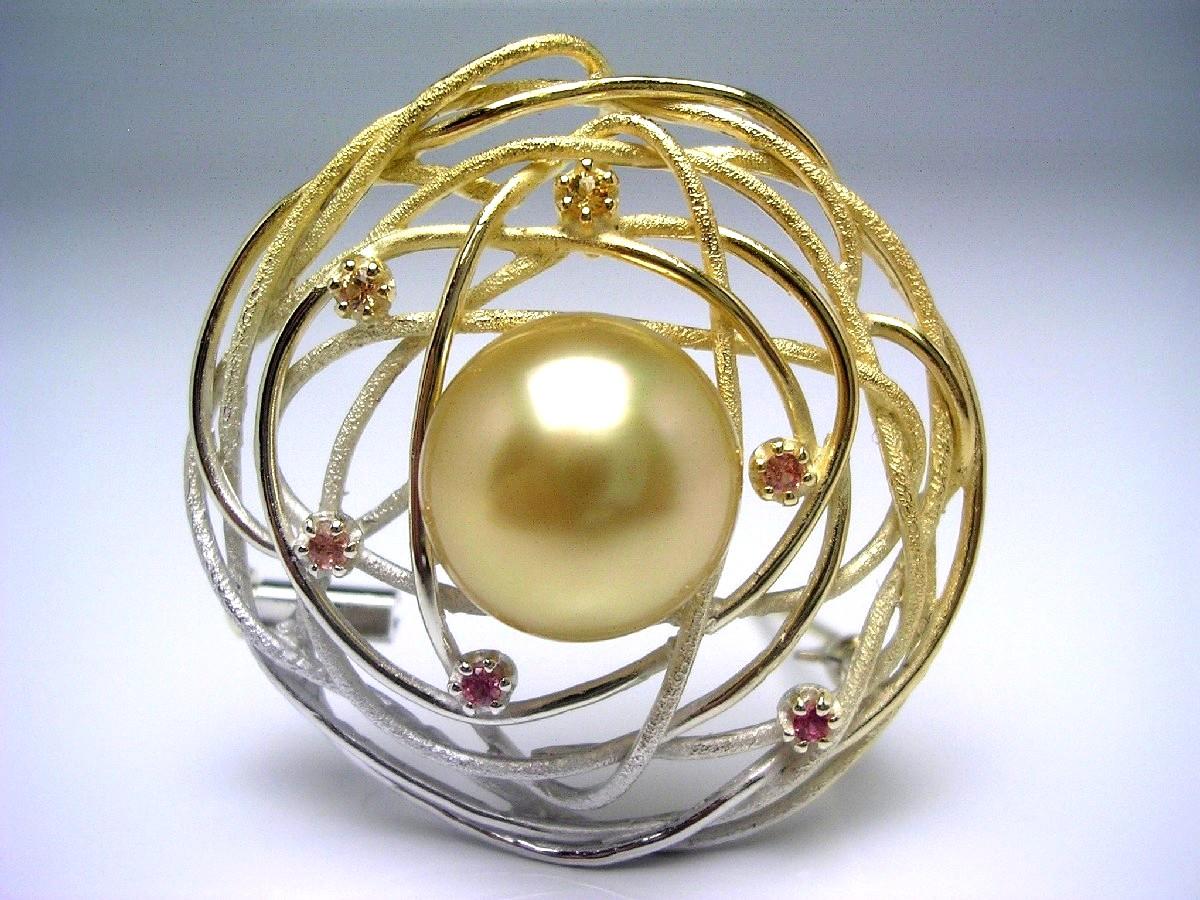 真珠 ブローチ パール 白蝶真珠 12.44mm ゴールド(ナチュラル) シルバー シトリン (黄水晶) 65225 イソワパール