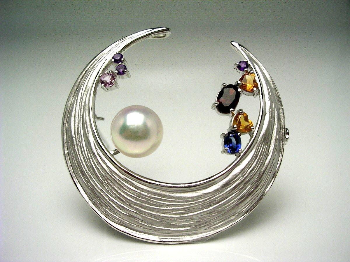 真珠 ブローチ パール アコヤ真珠 9.4mm ホワイトピンク シルバー 天然石 ムーン 65276 イソワパール