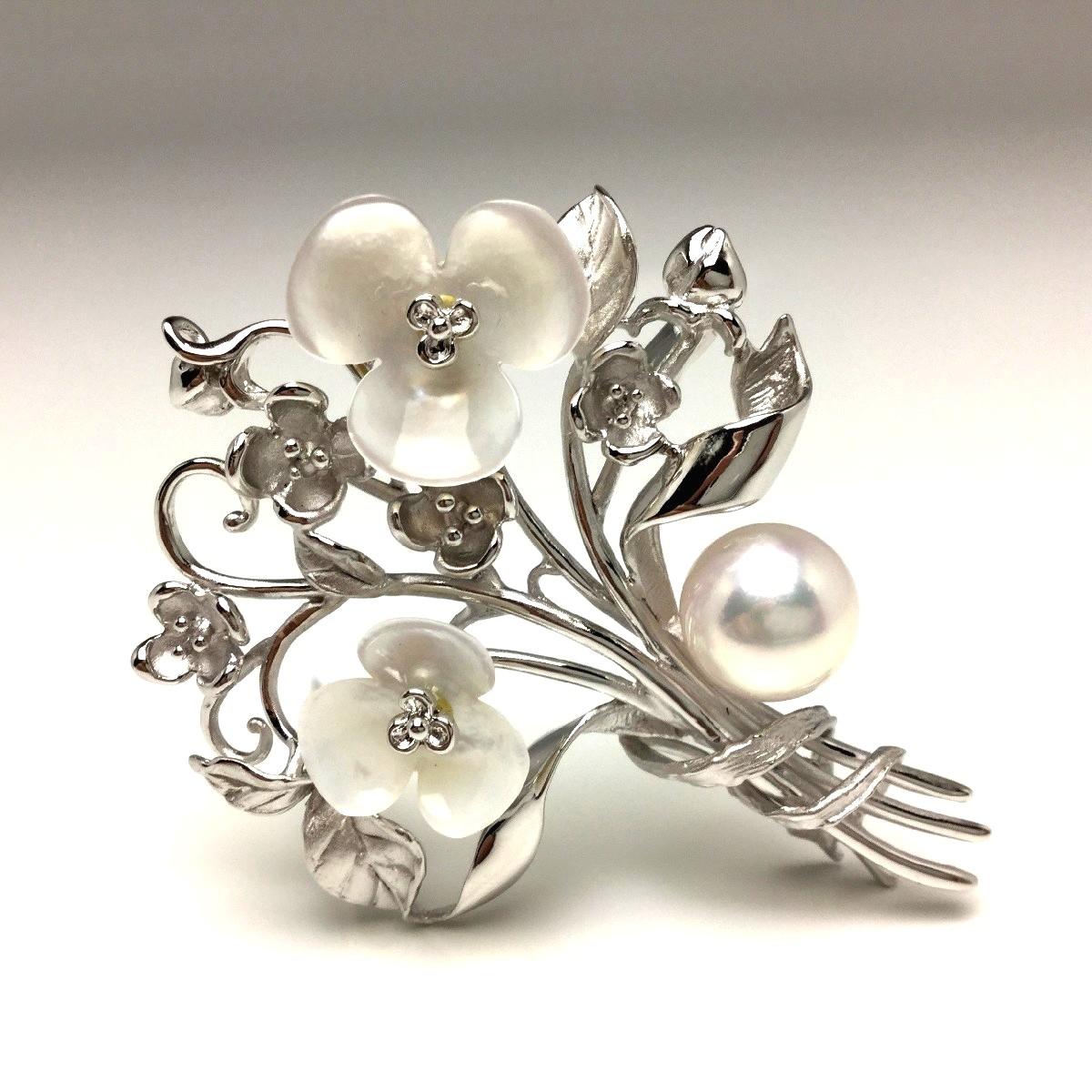 【10%OFF】真珠 ブローチ パール アコヤ真珠 9.5mm ホワイトピンク シルバー シェル フラワー 植物 65584 イソワパール