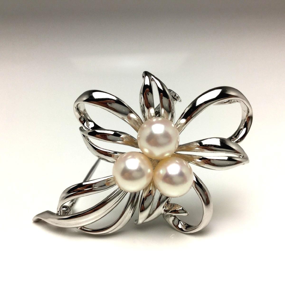【10%OFF】真珠 ブローチ パール アコヤ真珠 7.0-7.5mm ホワイトピンク シルバー 植物 フラワー 65968 イソワパール