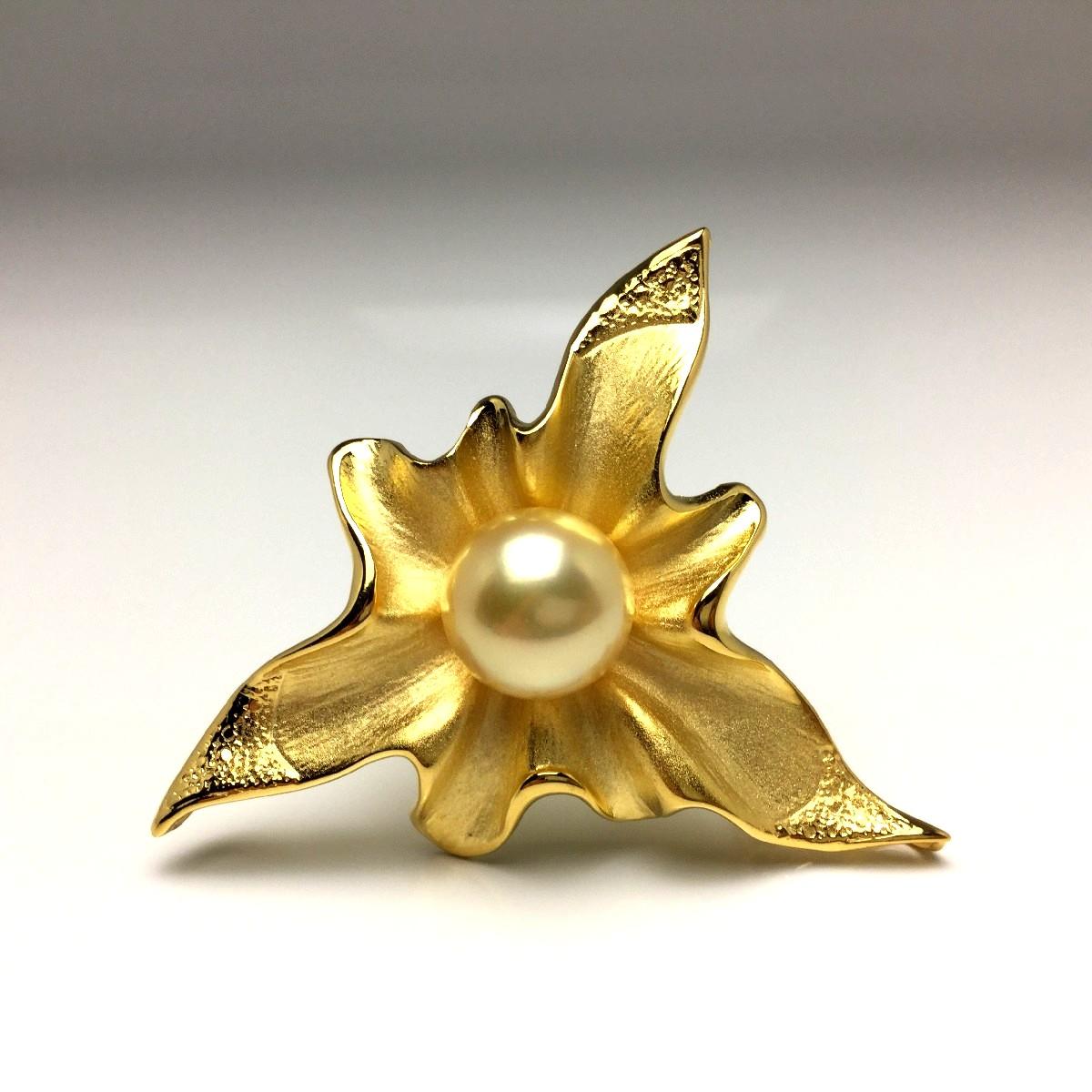 【10%OFF】真珠 ブローチ パール 白蝶真珠 12.0mm ゴールド(ナチュラル) シルバー 66125 イソワパール