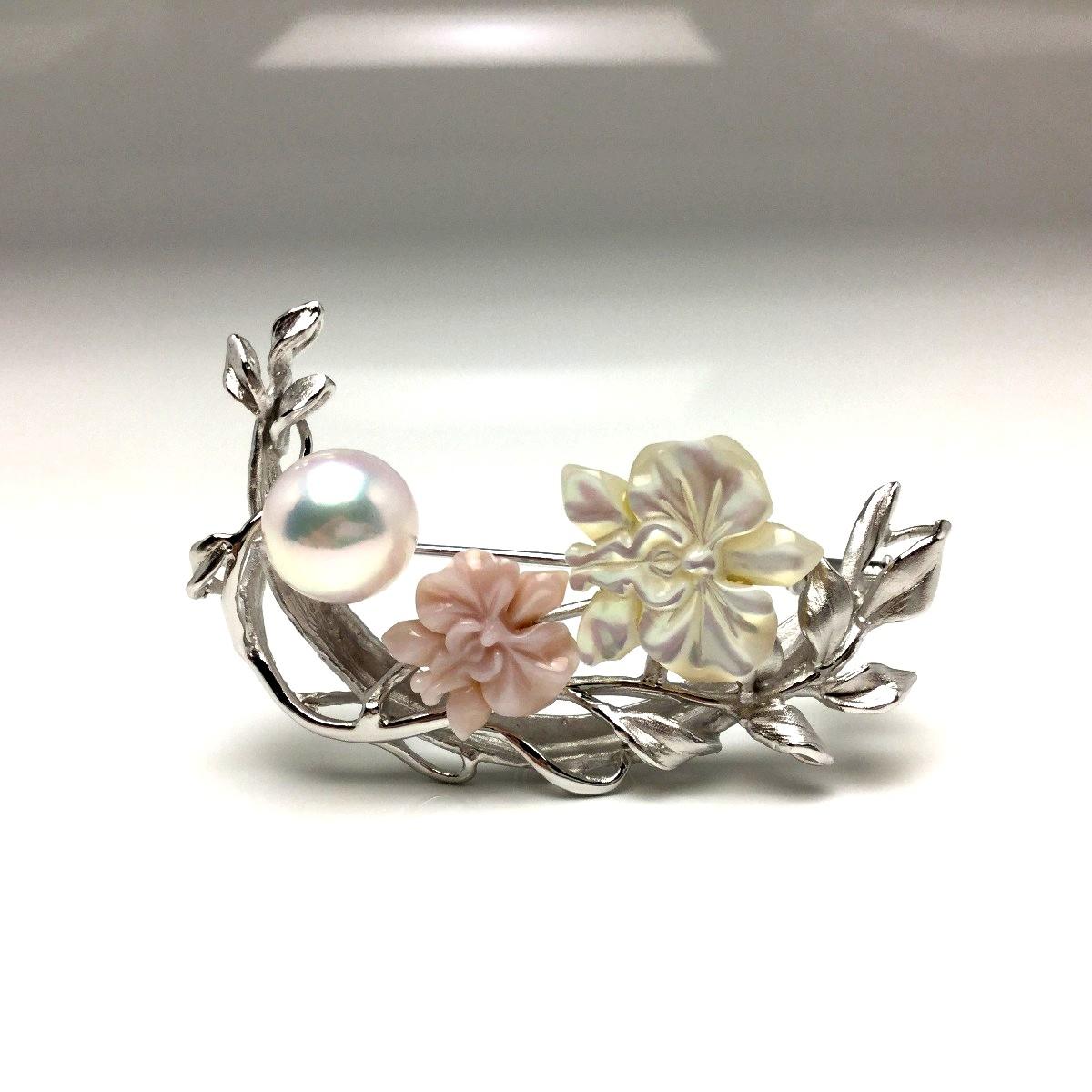 真珠 ブローチ パール アコヤ真珠 9.38mm ホワイトピンク シルバー シェル 植物 フラワー 66569 イソワパール