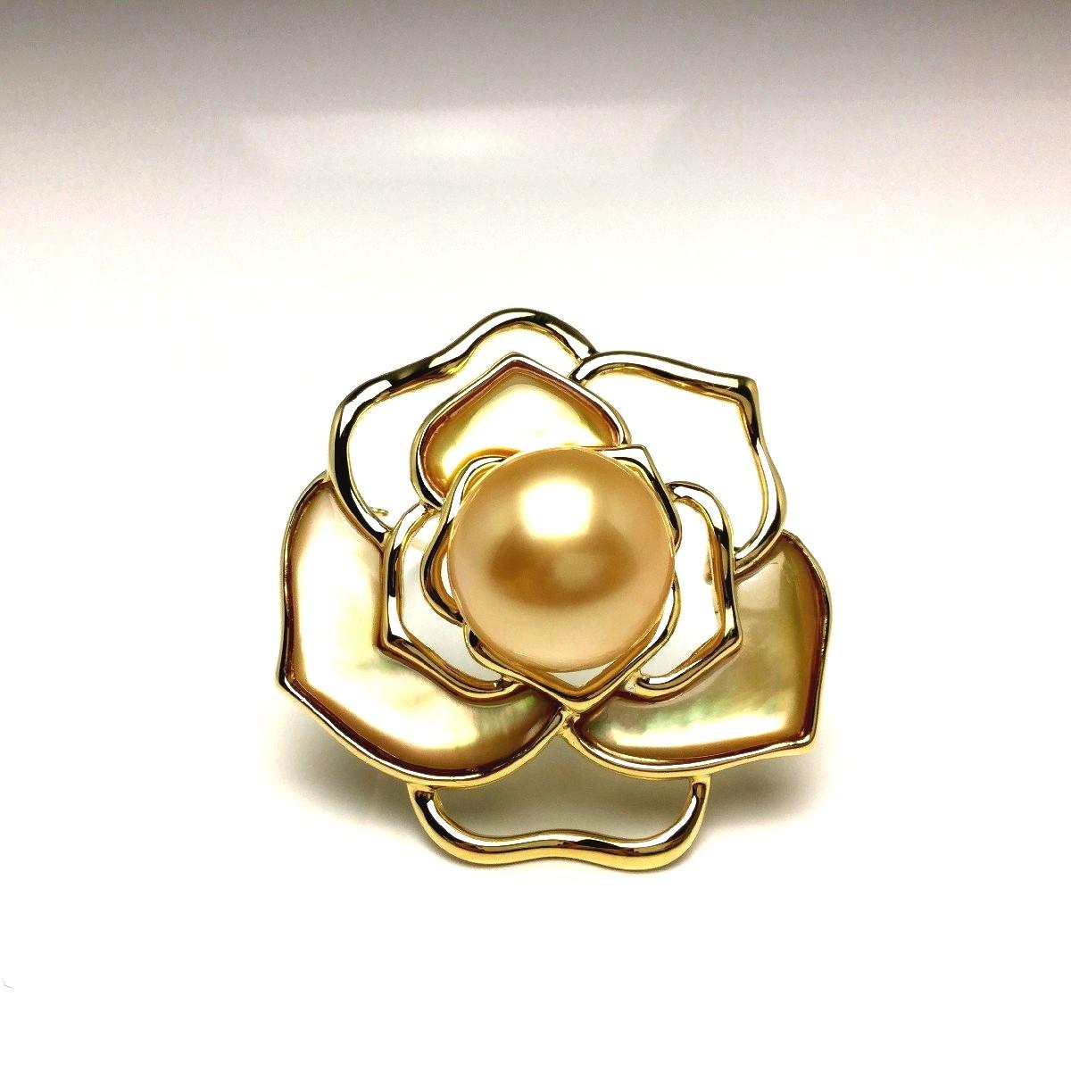真珠 ブローチ パール 白蝶真珠 13.7mm ゴールド(ナチュラル) シルバー シェル 植物 フラワー 66613 イソワパール