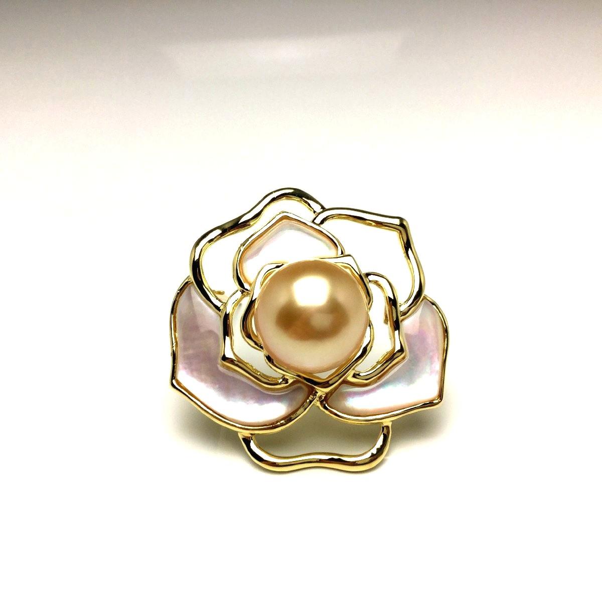 真珠 ブローチ パール 白蝶真珠 13.67mm ゴールド(ナチュラル) シルバー シェル 植物 フラワー 66614 イソワパール