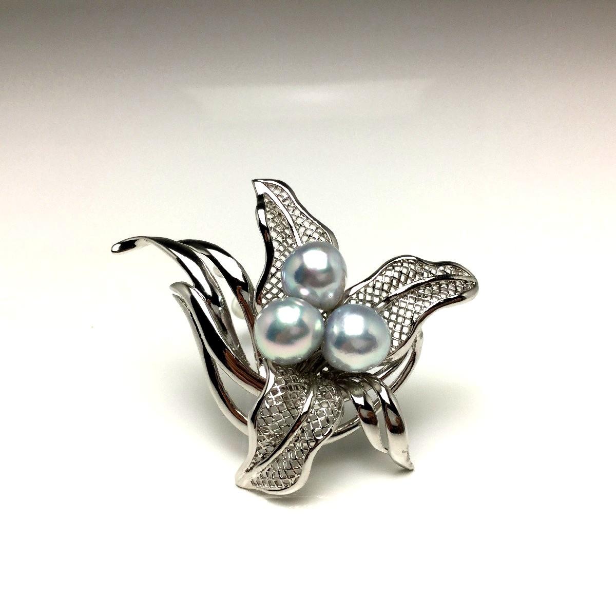 真珠 ブローチ パール アコヤ真珠 9.1mm・9.3mm・9.6mm ホワイトシルバーブルー(ナチュラル) シルバー 植物 66664 イソワパール