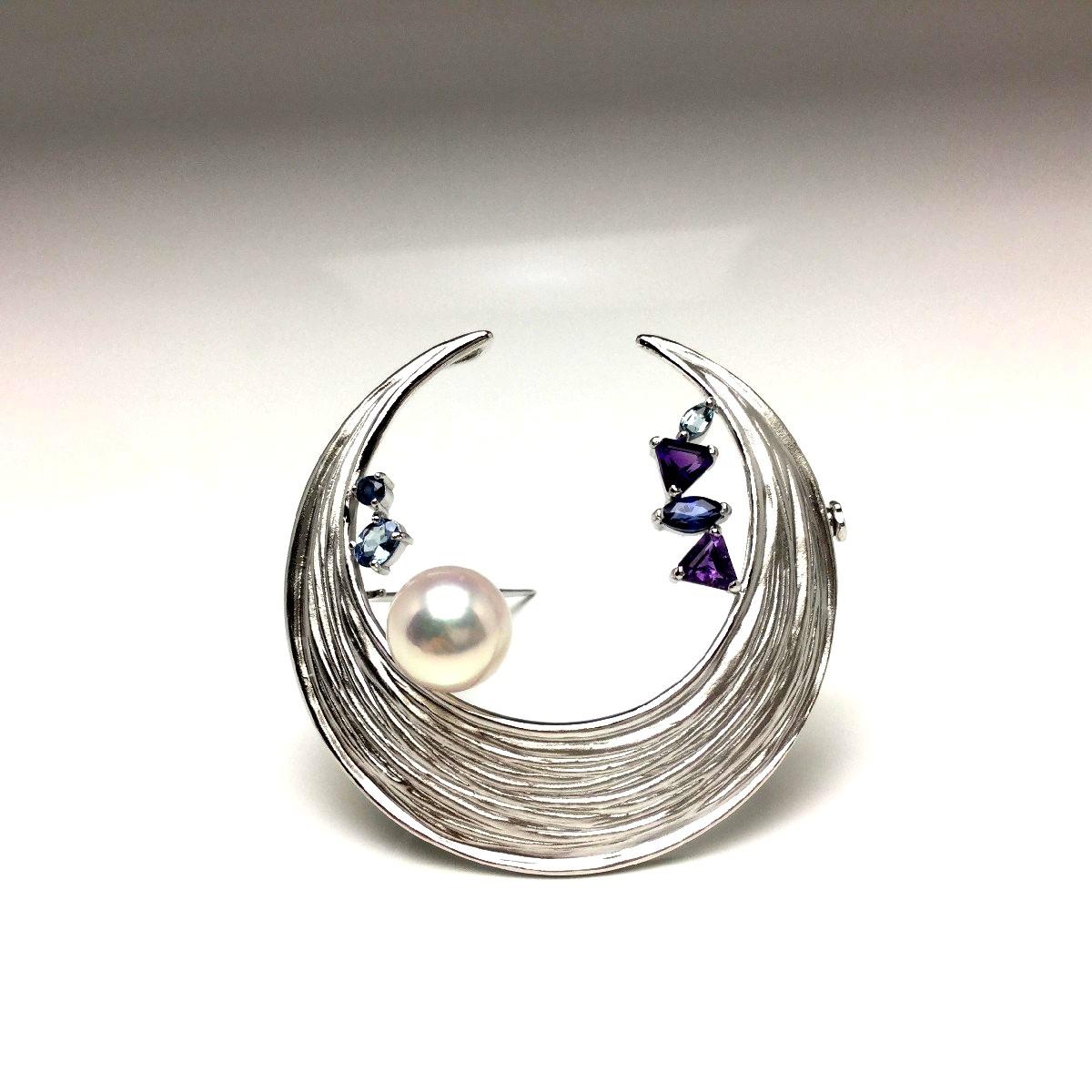 真珠 ブローチ パール アコヤ真珠 9.2mm ホワイトピンク シルバー 天然石 ムーン 67037 イソワパール
