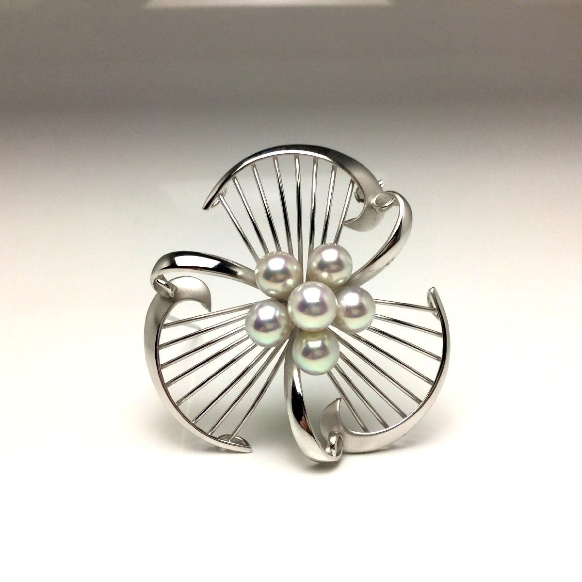 真珠 ブローチ パール アコヤ真珠 7.0-7.5mm ホワイトシルバーブルー(ナチュラル) シルバー 植物 67038 イソワパール