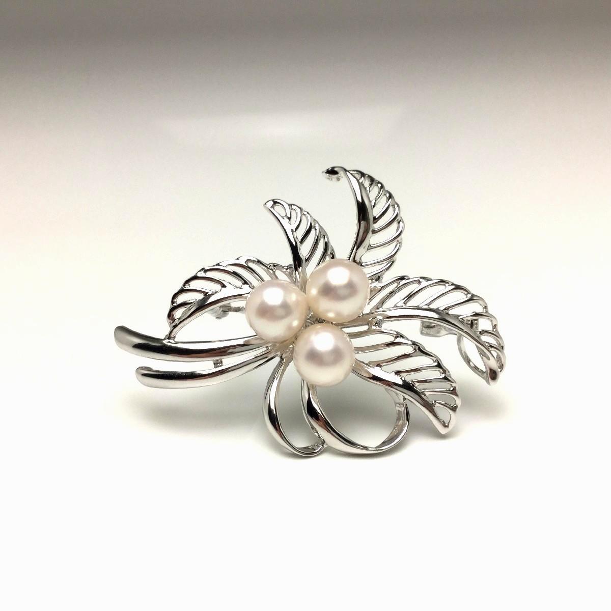 【10%OFF】真珠 ブローチ パール アコヤ真珠 7.0-7.5mm ホワイトピンク シルバー 植物 フラワー 67040 イソワパール