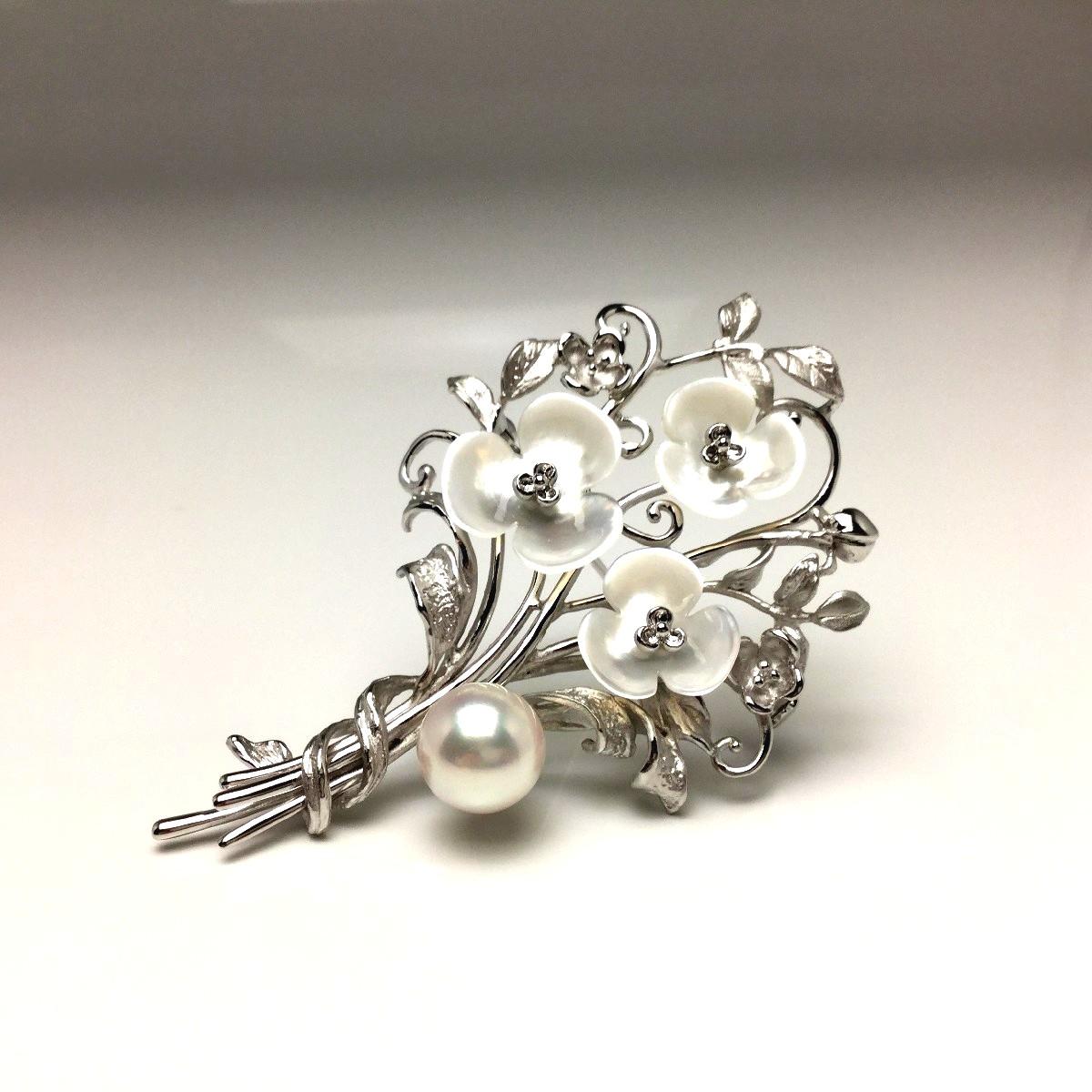 【10%OFF】真珠 ブローチ パール アコヤ真珠 9.4mm ホワイトピンク シルバー シェル フラワー 植物 67091 イソワパール