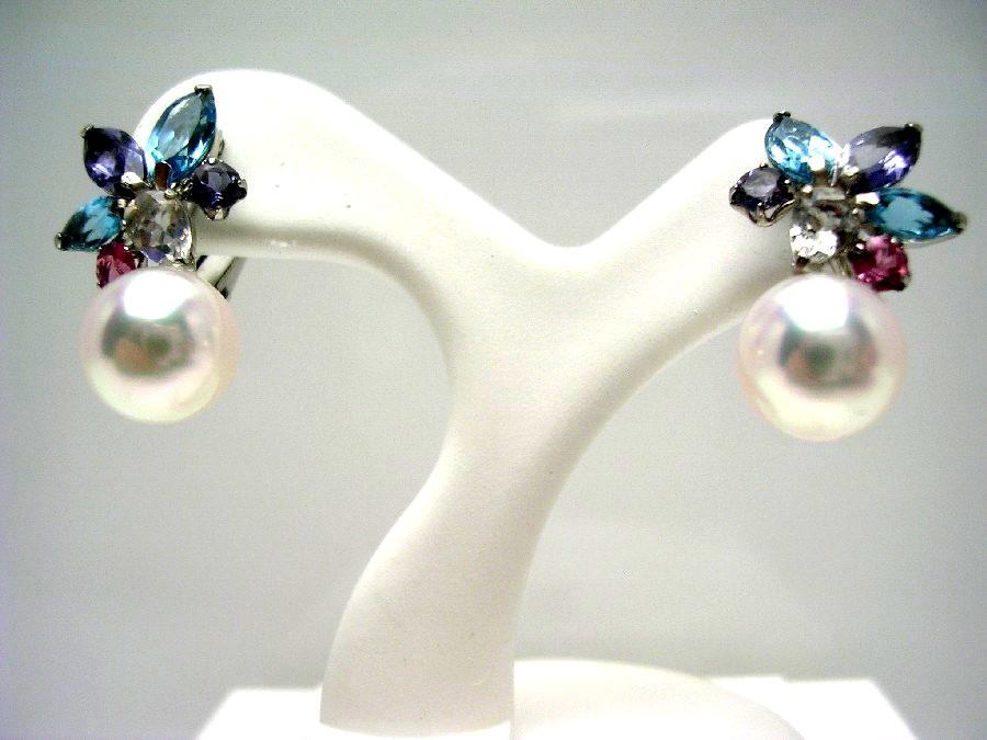 真珠 イヤリング パール アコヤ真珠 7.5-8.0mm ホワイトピンク K14 ホワイトゴールド 天然石 55050 イソワパール