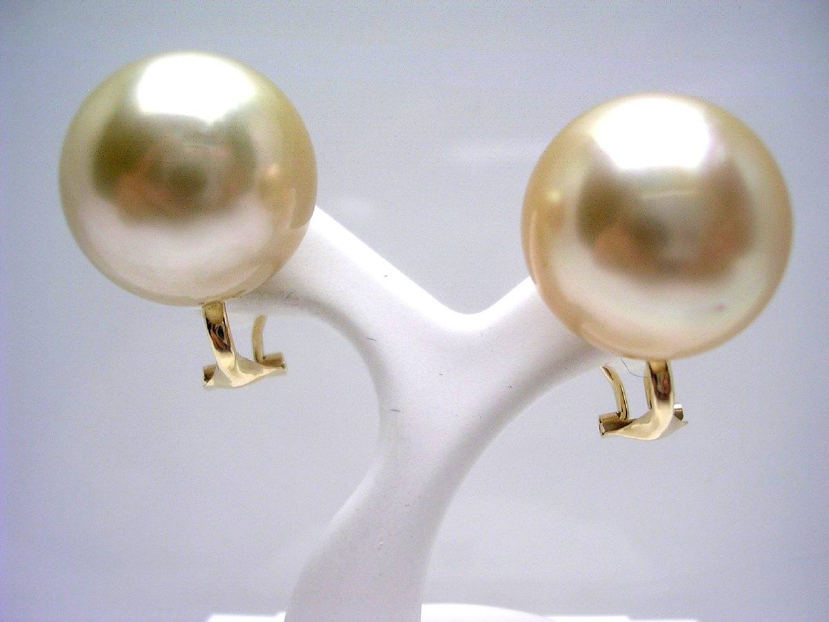 【10%OFF】真珠 イヤリング パール 白蝶真珠 16.1mm ゴールド(ナチュラル) K18 イエローゴールド 65356 イソワパール