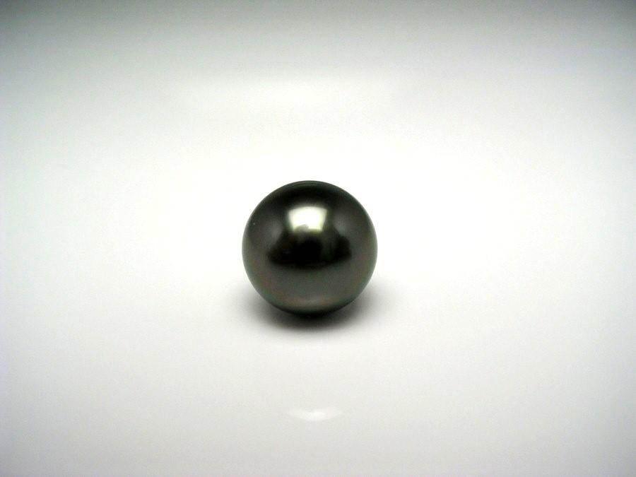 真珠 ネクタイピン パール 黒蝶真珠 8.97mm ディープグリーン K14 ホワイトゴールド 針 51648 イソワパール