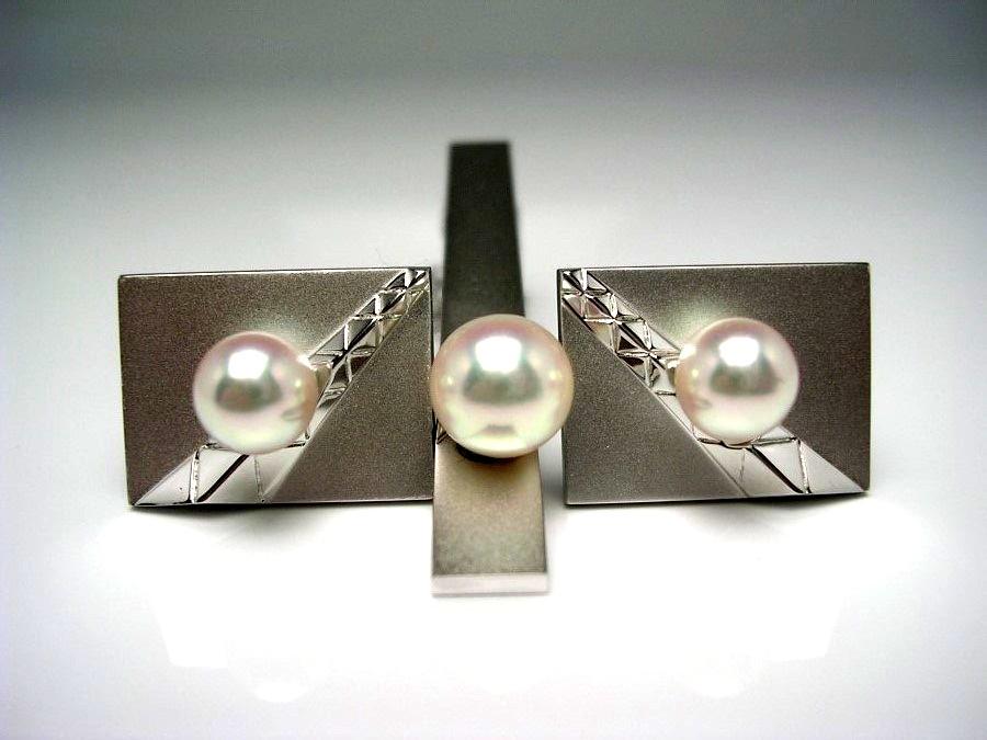 真珠 ネクタイピン パール アコヤ真珠 カフス セット 8.28mm ホワイトピンク シルバー 52962 イソワパール