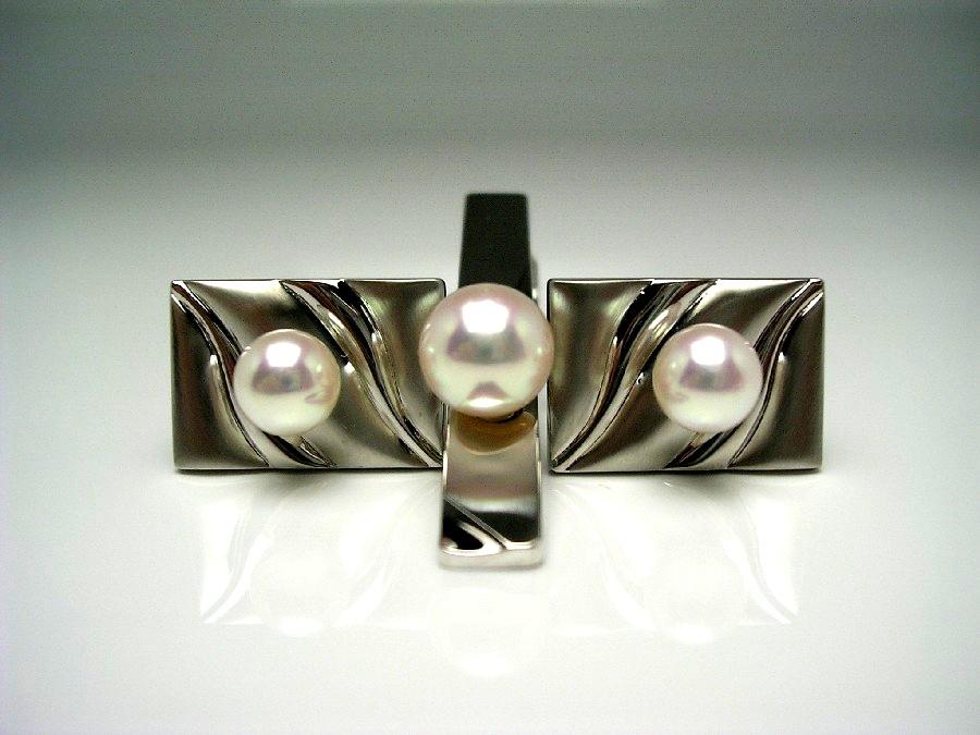 真珠 ネクタイピン パール アコヤ真珠 カフス セット 8.6mm ホワイトピンク シルバー 56484 イソワパール