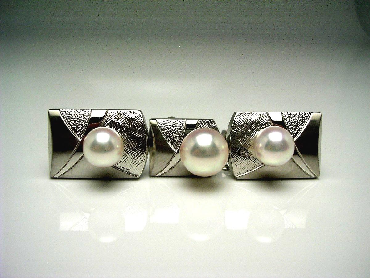 真珠 ネクタイピン パール 母の日 アコヤ真珠 カフス セット 8.7mm ホワイトピンク シルバー 60061 イソワパール