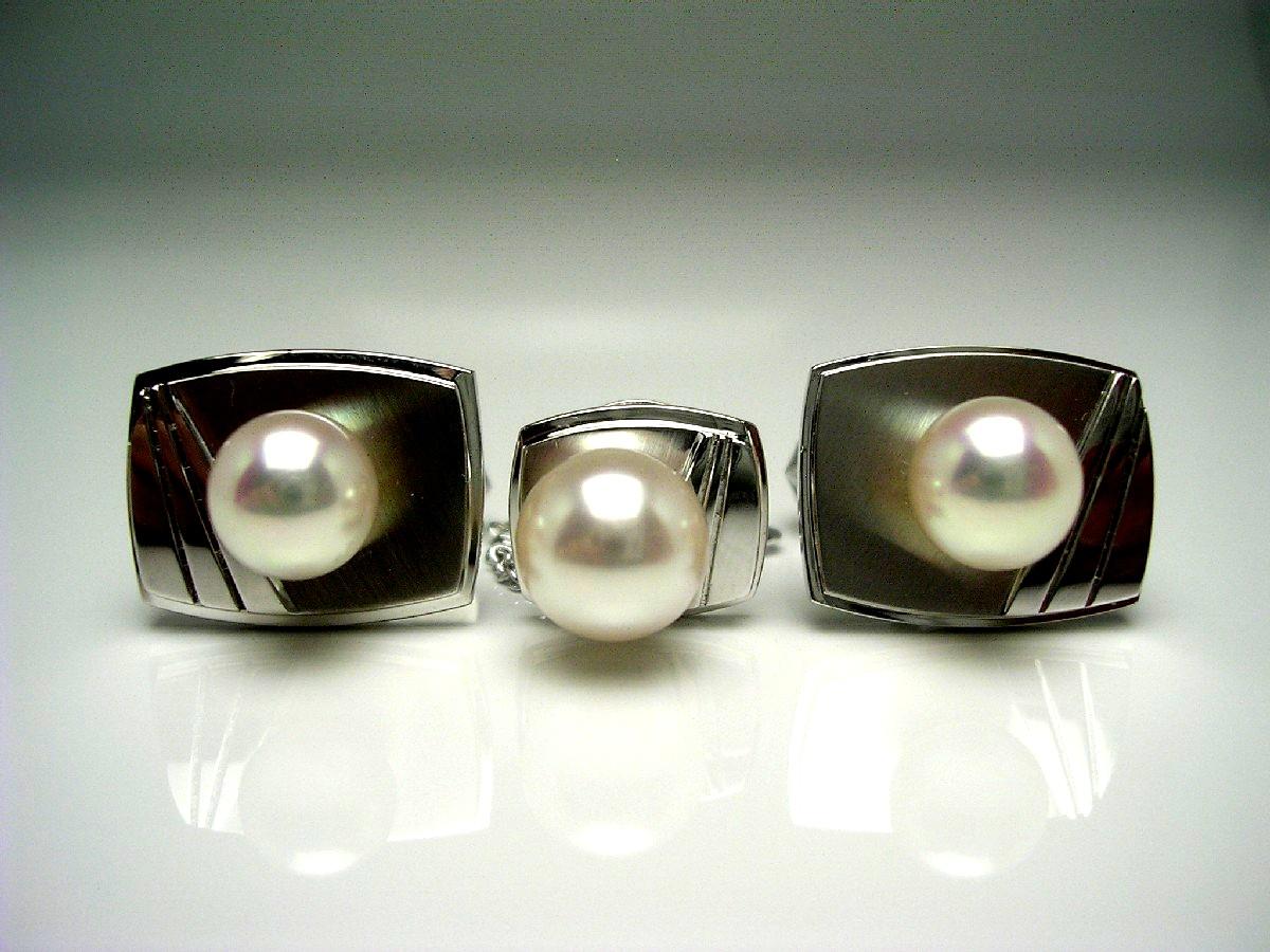 真珠 ネクタイピン パール アコヤ真珠 カフス セット 8.77mm ホワイトピンク シルバー 62501 イソワパール