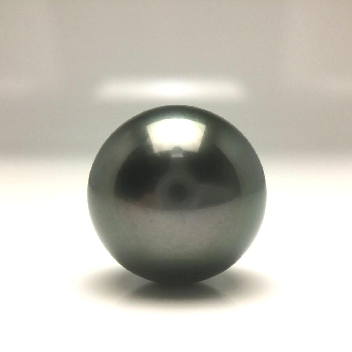 真珠 ネクタイピン パール 黒蝶真珠 14.29mm ミドルグリーン Pt900 プラチナ 針 66386 イソワパール