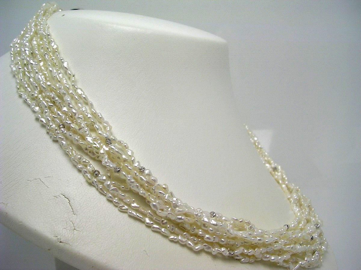 真珠 ネックレス パール アコヤ真珠天然ケシ 10連(2.0-3.0mm) ホワイト シルバー クラスップ 62798 イソワパール