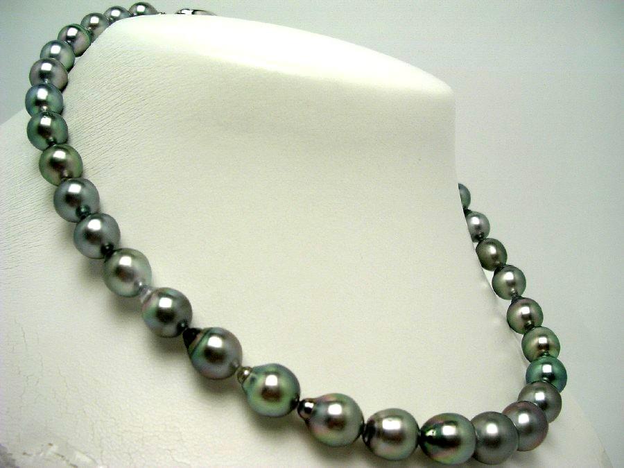 真珠 ネックレス パール ナチュラルカラー 黒蝶真珠 8.5-10.9mm ホワイトシルバーグレー シルバー クラスップ 56846 イソワパール