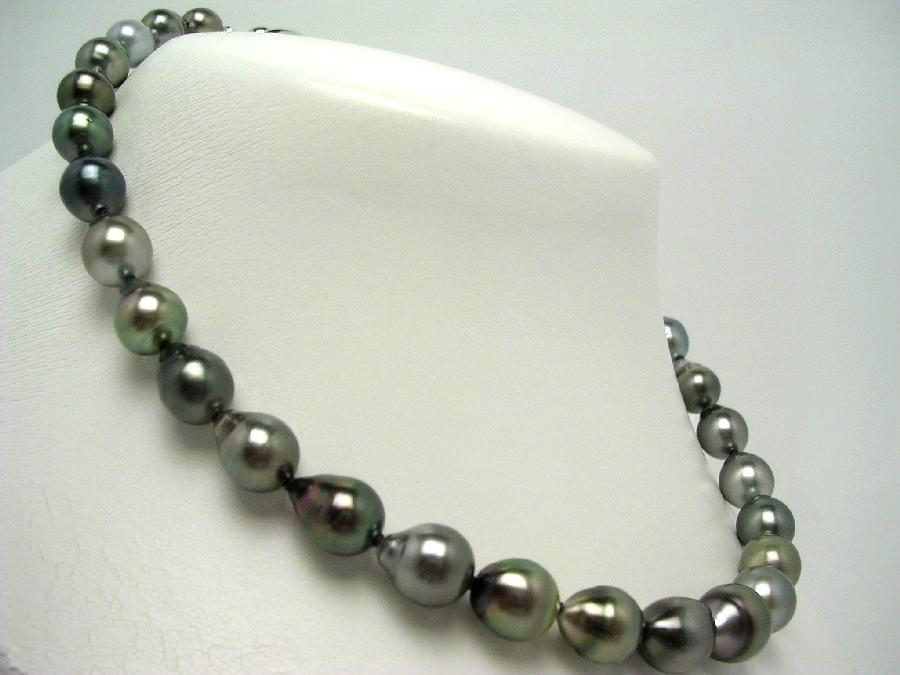 真珠 ネックレス パール ナチュラルカラー 黒蝶真珠 8.4-11.7mm マルチカラー シルバー クラスップ 58078 イソワパール