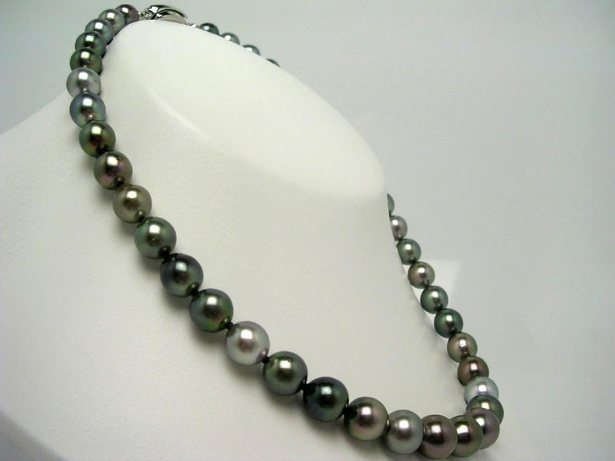 真珠 ネックレス パール 厚巻良質・ナチュラルカラー 黒蝶真珠 8.0-11.1mm マルチカラー シルバー クラスップ 59021 イソワパール