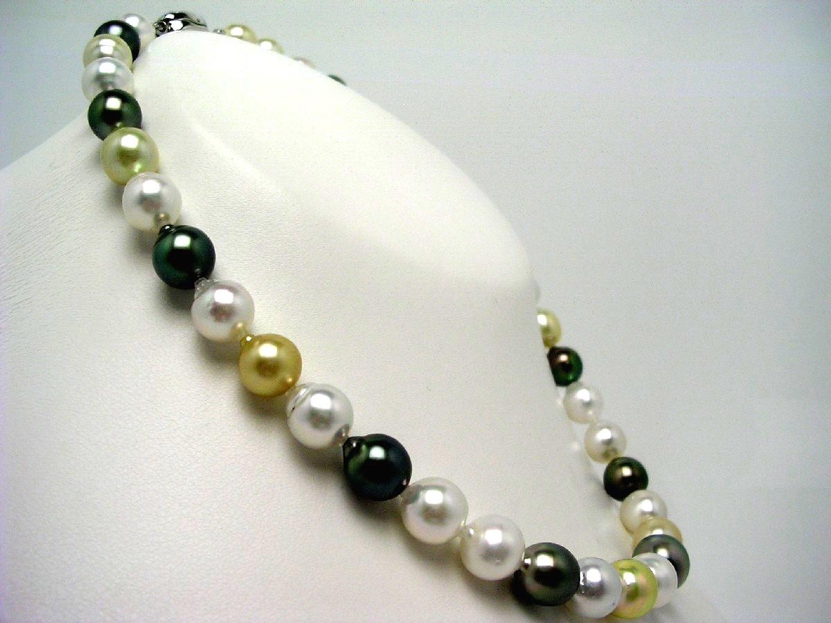 真珠 ネックレス パール ナチュラルカラー 白蝶真珠・黒蝶真珠 9.0-11.5mm マルチカラー シルバー クラスップ 60244 イソワパール