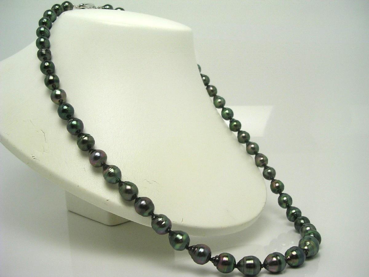 真珠 ネックレス パール ピーコックグリーンカラー 黒蝶真珠 イヤリング or ピアス セット 8.3-11.5mm ピーコックグリーン シルバー クラスップ 62806 イソワパール