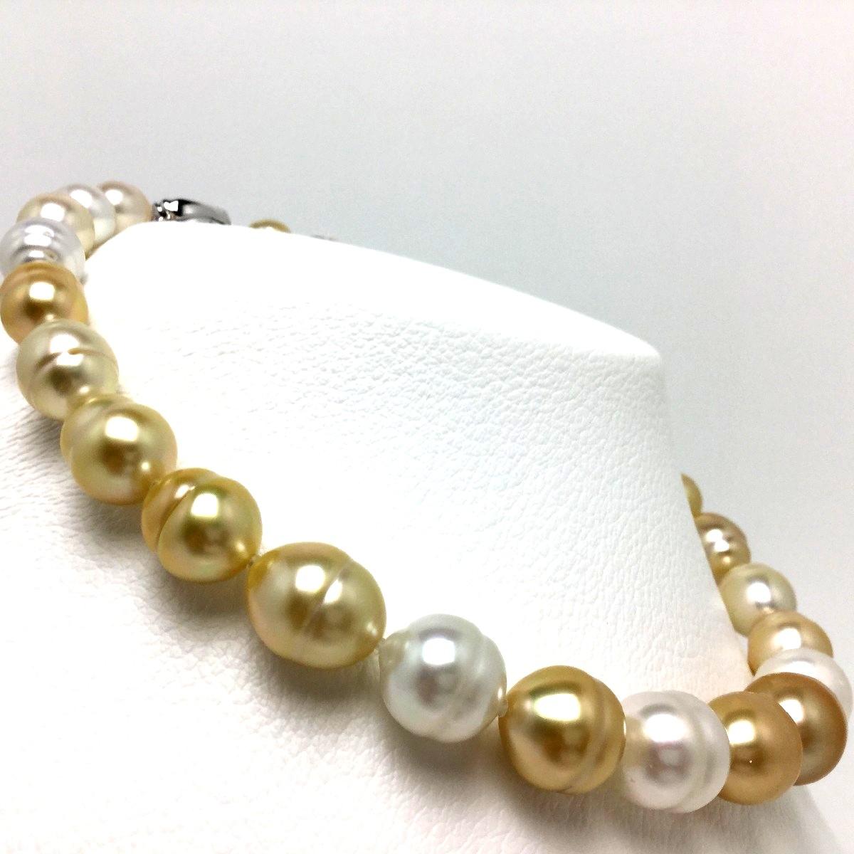 真珠 ネックレス パール ナチュラルカラー 白蝶真珠 10.2-15.0mm マルチカラー シルバー クラスップ 66675 イソワパール