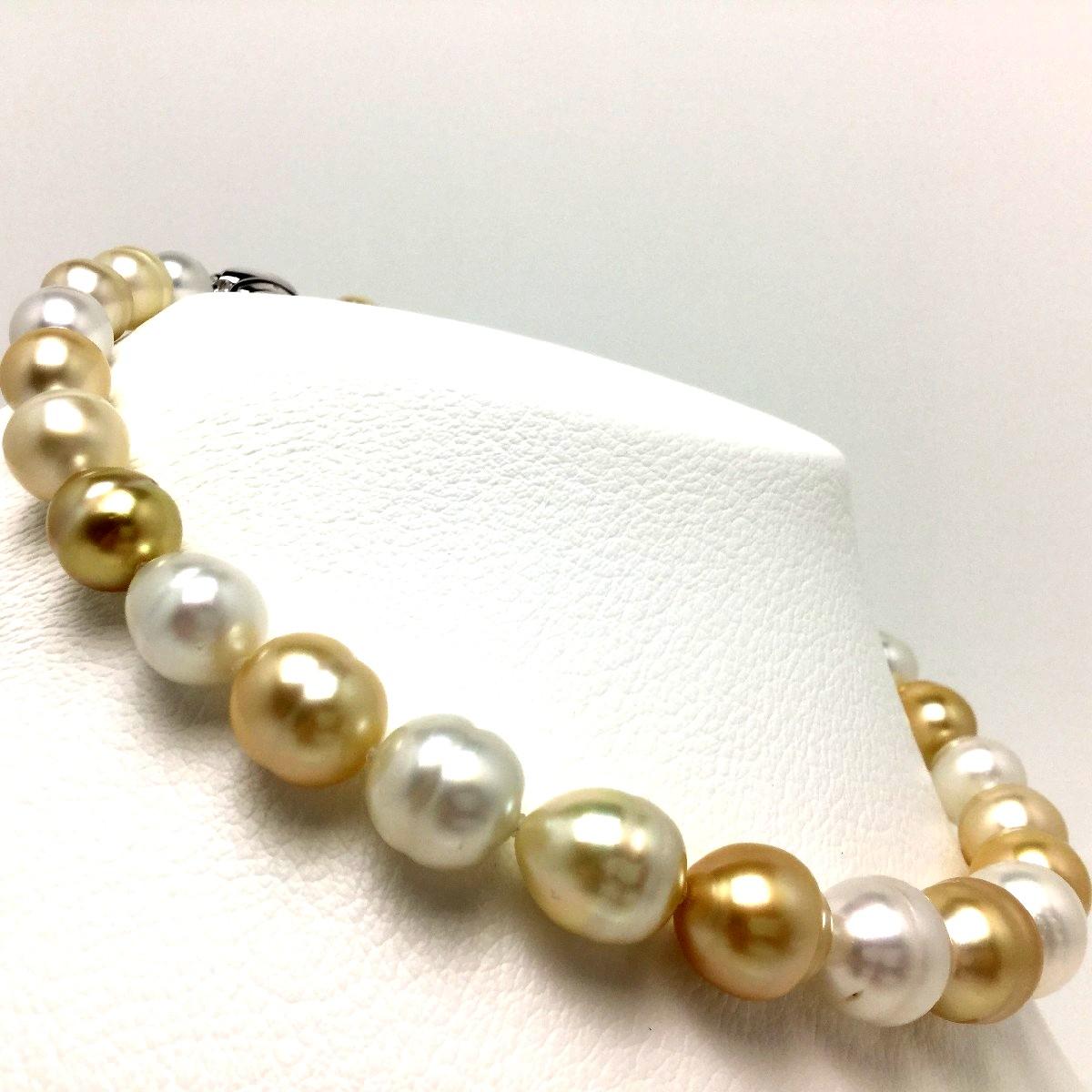 【半額】【50%OFF】真珠 ネックレス パール ナチュラルカラー 白蝶真珠 10.0-14.6mm マルチカラー シルバー クラスップ 66676 イソワパール