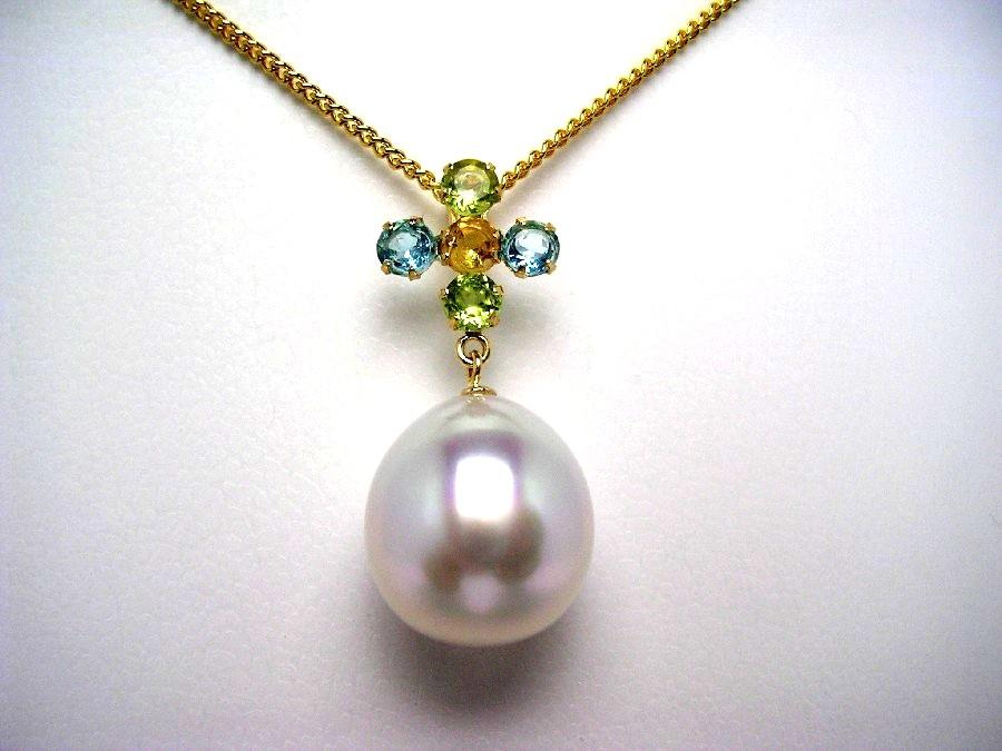 真珠 ペンダントトップ パール 白蝶真珠 11.4mm ホワイト K18 イエローゴールド 天然石 47057 イソワパール
