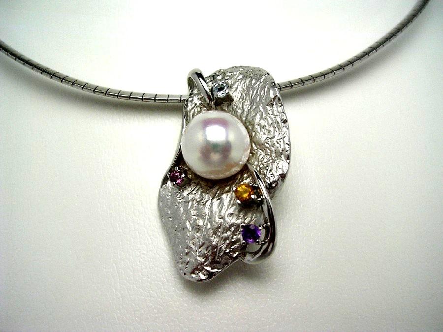 真珠 ペンダント パール アコヤ真珠 9.9mm ホワイトピンク シルバー 天然石 47615 イソワパール