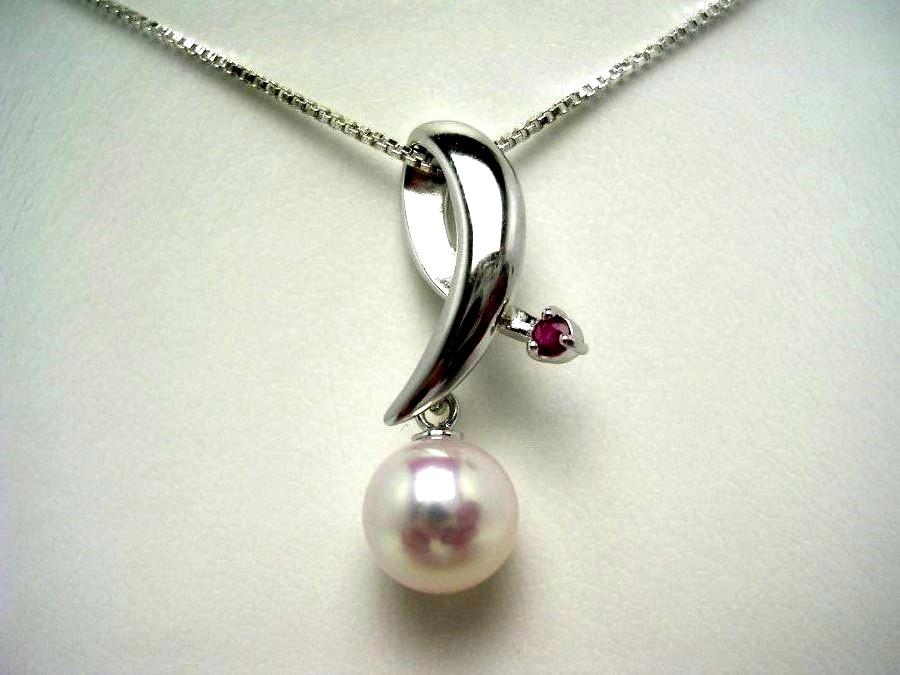 真珠 ペンダント パール アコヤ真珠 8.5-9mm ホワイトピンク シルバー ガーネット 52865 イソワパール