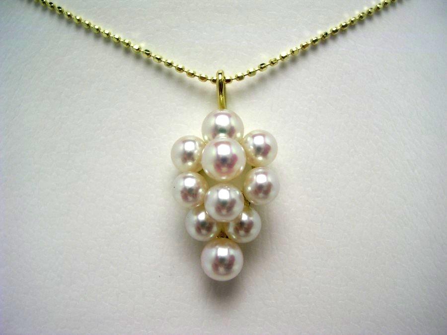 真珠 ペンダント パール アコヤ真珠 3.5-4.5mm ホワイトピンク K18 イエローゴールド 果物 52909 イソワパール