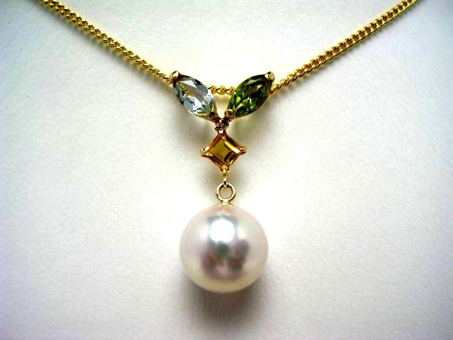 真珠 ペンダントトップ パール 母の日 アコヤ真珠 8.6mm ホワイトピンク K18 イエローゴールド 天然石 52984 イソワパール