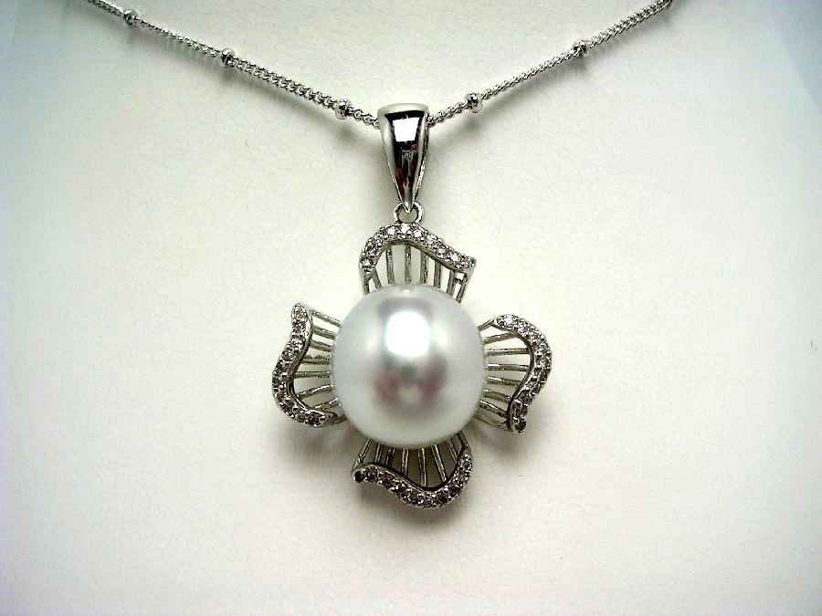 真珠 ペンダント パール 白蝶真珠 12.5mm ホワイト シルバー 54053 イソワパール