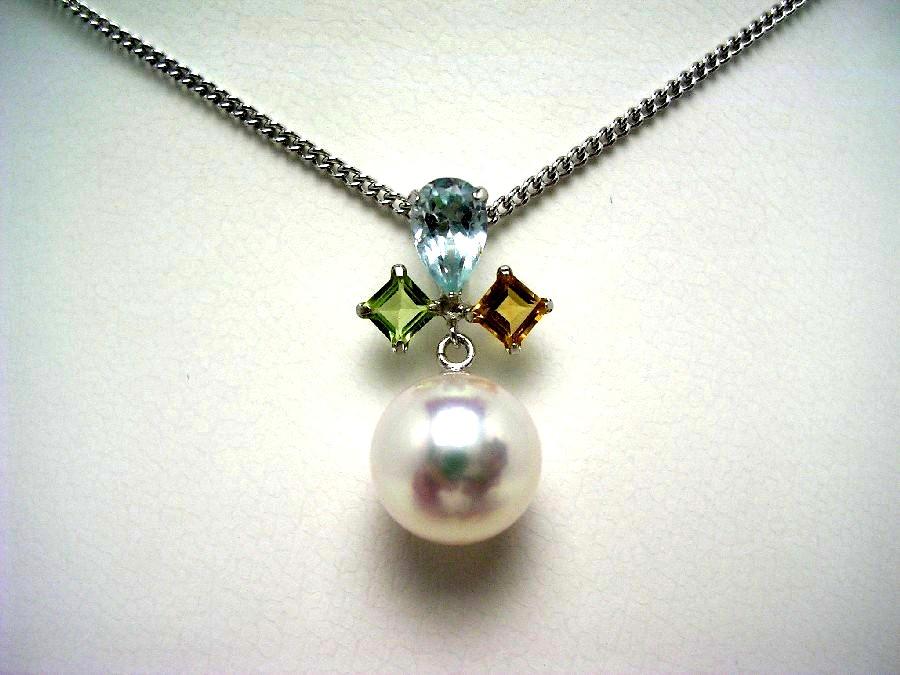 真珠 ペンダントトップ パール アコヤ真珠 8.7mm ホワイトピンク K14 ホワイトゴールド 天然石 54931 イソワパール