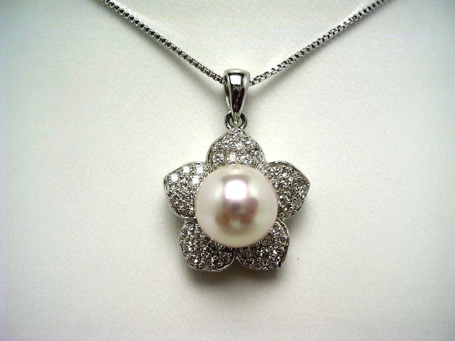 真珠 ペンダント パール 母の日 アコヤ真珠 9.6mm ホワイトピンク シルバー ジルコン 55260 イソワパール