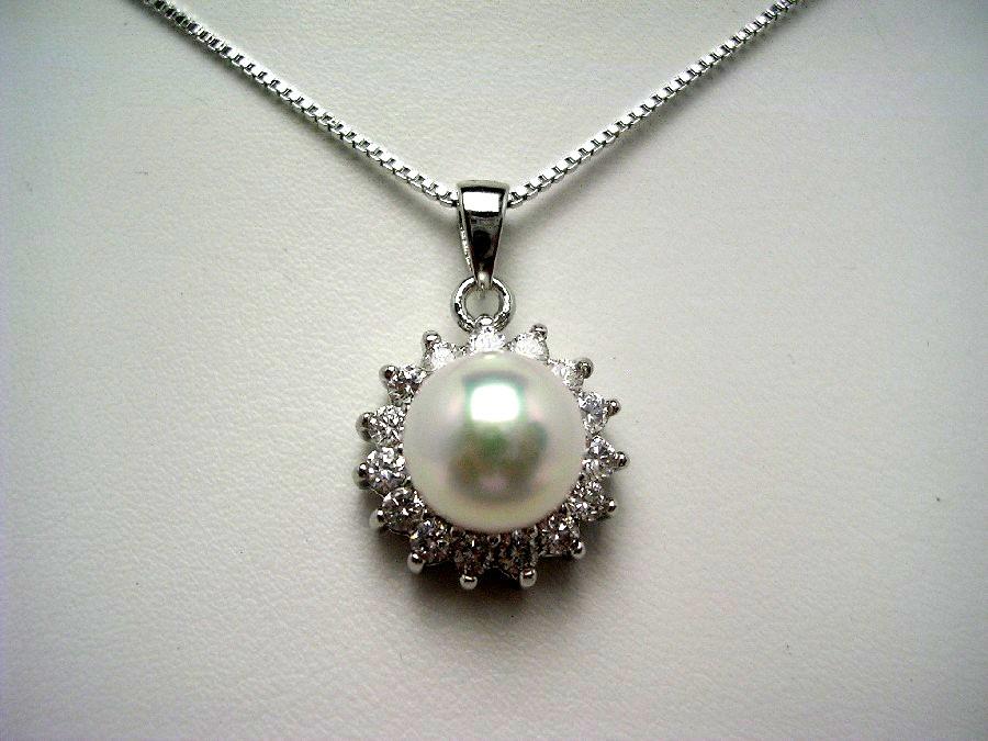 真珠 ペンダント パール アコヤ真珠 9.0mm ホワイトピンク シルバー ジルコン 55520 イソワパール