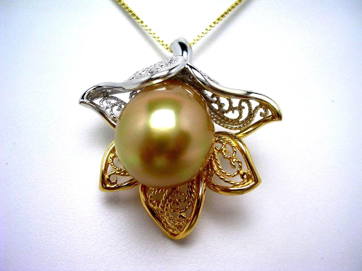 真珠 ペンダント パール 白蝶真珠 14.08mm ゴールド(ナチュラル) シルバー 60200 イソワパール