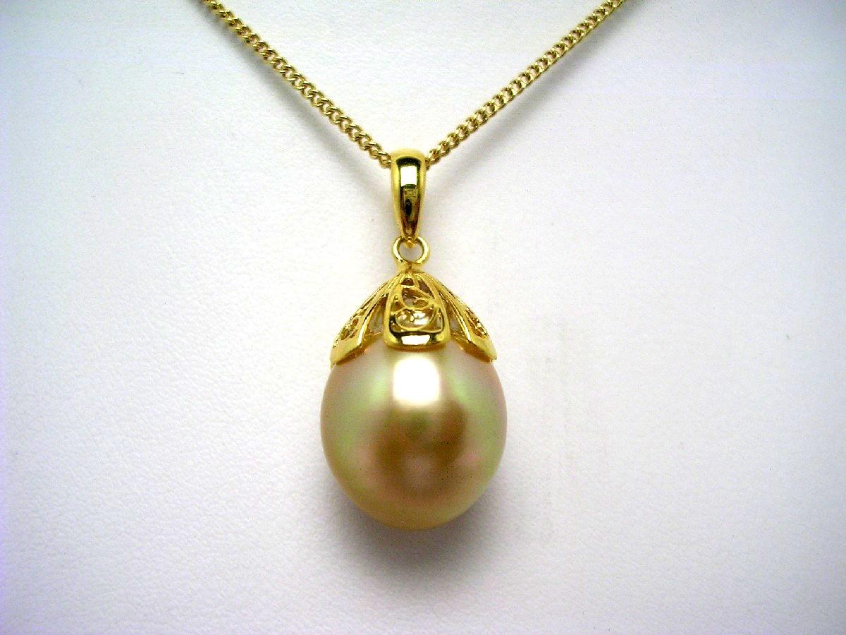 真珠 ペンダントトップ パール 白蝶真珠 12.0mm ゴールド(ナチュラル) シルバー 62433 イソワパール