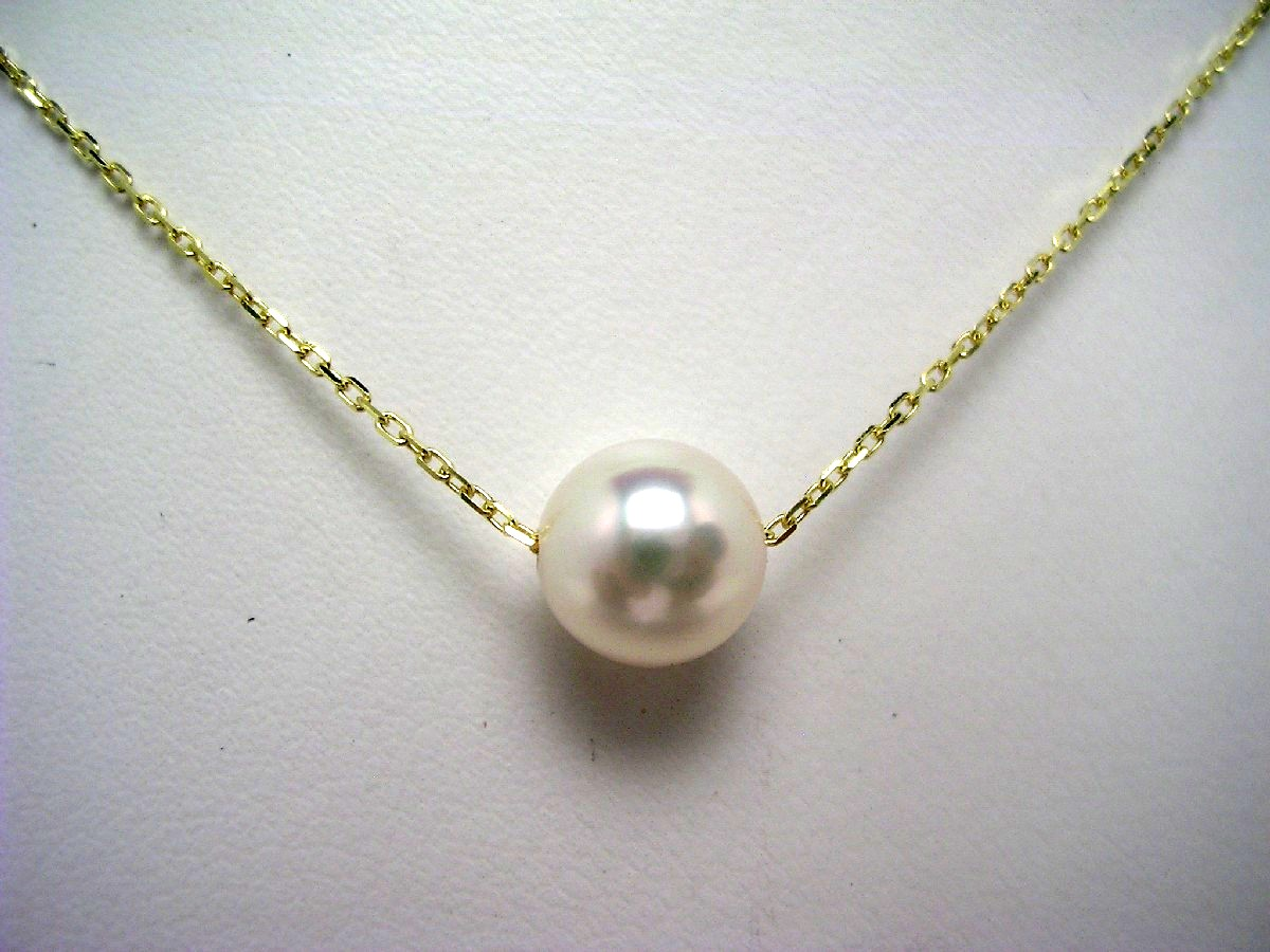 真珠 ペンダント パール アコヤ真珠 6.5-7mm ホワイトピンク K18 イエローゴールド チェーン 62561 イソワパール