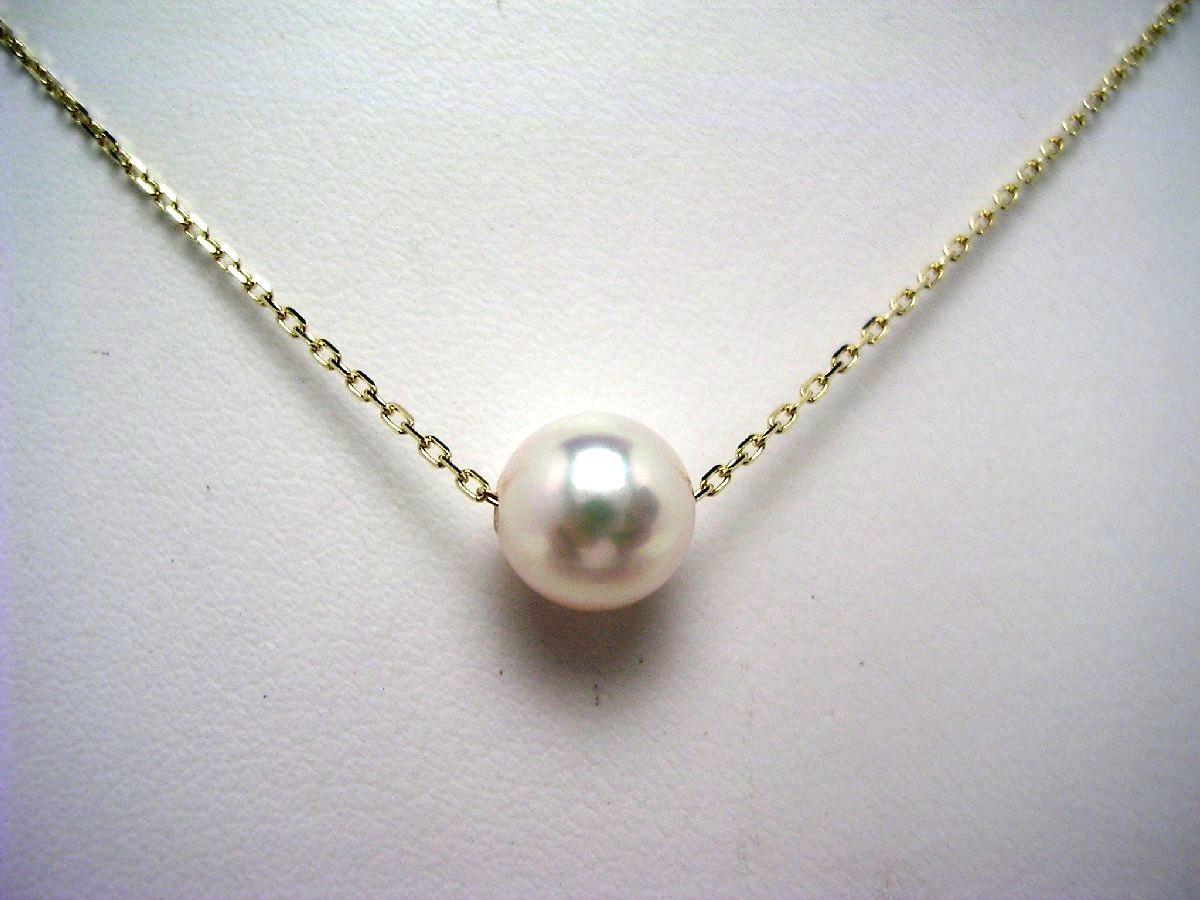 真珠 ペンダント パール アコヤ真珠 6.5-7mm ホワイトピンク K10 イエローゴールド チェーン 62562 イソワパール