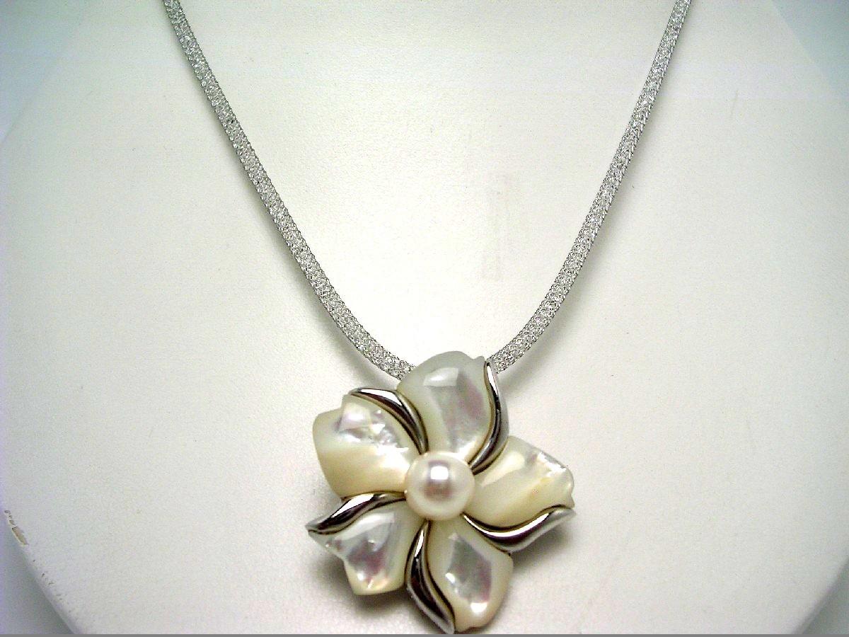 【10%OFF】真珠 ペンダント パール アコヤ真珠 8-8.5mm ホワイトピンク シルバー シェル フラワー 62580 イソワパール