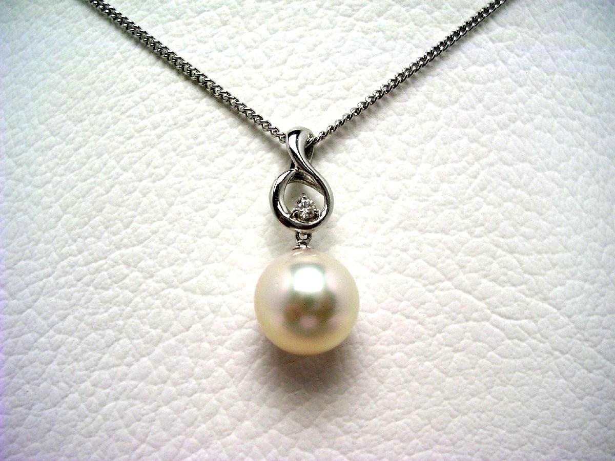 真珠 ペンダントトップ パール アコヤ真珠 9.2mm ホワイトピンク K14 ホワイトゴールド ダイヤモンド 0.03ct 62960 イソワパール